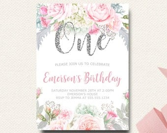 First Birthday Invitation Floral Silver | Flower Birthday Invite | Silver Glitter Sparkle | Silver and Pink