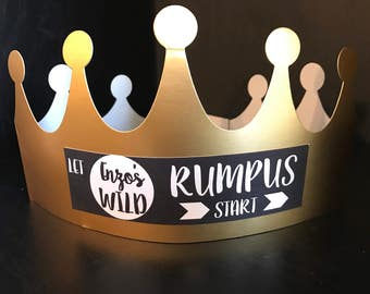 PERSONALIZED Where the Wild Things Are | Wild Beast Birthday Party Crowns Hats Favors | Let the Wild Rumpus Start | Set of 8
