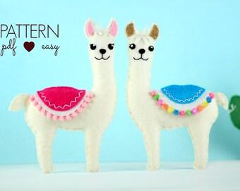 Felt Pattern, Llama Sewing Pattern, Felt Animal Pattern, Llama Mobile, Felt Llama Pattern, Kawaii Llama, Ornament, Alpaca