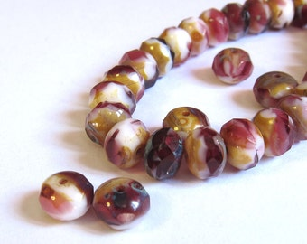 Burgundy red Czech glass beads, Cranberry rondelle 8x6mm beads, 12 Picasso Dark pink and white beads, Destash, 8mm