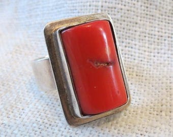 Natural Red Branch Coral Sterling Silver Adjustable Ring SZ 7