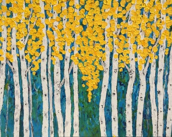 Birch  Aspen Tree Extra Large Original Acrylic Painting 40 x 30 x 1  Commission/Custom Painting ships in 5 business days Free Shipping in US