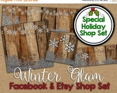 Winter Etsy Banner Set - Snowflake Shop Banner - Holiday Facebook Shop Graphics - Christmas Shop Banner  - Glitter Etsy Banner Shop Set