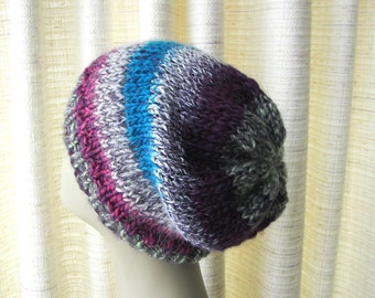Hand Knit Alpaca blend Trendy Striped Beanie in Purple Wine Blue / Ready to ship Unique Gift