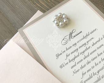Vintage Rhinestone Invitation will you be my bridesmaid card, bridal party cards, matron of homor, maid of honor, flower girl