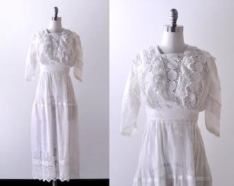 1910's white tea dress. xs. lace dress. Edwardian gown. wedding. cotton.