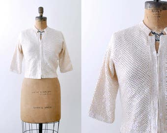 Vintage 50's cardigan. sequin. 1950 cream sweater. wool zip-up. iridescent white. cropped. M