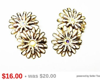Kramer Flower Earrings - White Enamel & Aurora Borealis Rhinestones - Clip on Earrings - Pair of White Flowers - Mid Century Modern 1960's