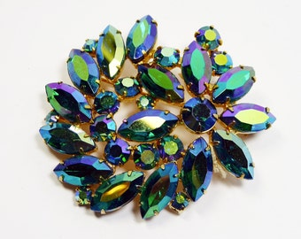 Vintage Weiss Rhinestone Brooch - Flower Pin- Blue Green Aurora Borealis Marquis - Iridescent Rhinestones - 1950s 1960s Mid Century Flowers