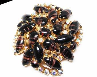 Black Art Glass & Rhinestone Brooch - Aurora Borealis Rhinestones - Black Cabs with Copper Gold Glitter Vintage Mid Century 1950s Unsigned