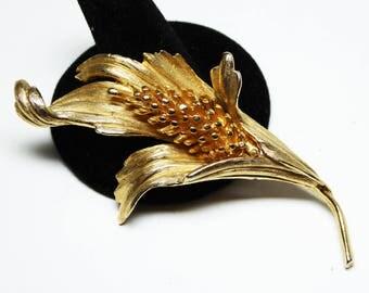 Vintage Trifari Flower Brooch - Classic Satin Gold Tone - Long Stem Hyacinth Flower in Bud - Vintage 1960's Crown Trifari Pin
