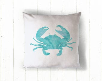 Personalized Nautical Crab Pillow Cover, Custom Wedding Pillow Cover, Beach Throw Pillow Cover, Coastal Living Pillow Cover, Bridal Gift