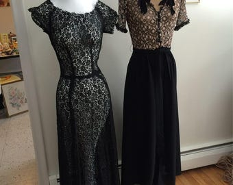 30's -40's Black Netted Lace Dress Lace and Rayon Dress Torchlight Singer Hollywood Glam Boogie Woogie Bugle Boy Era