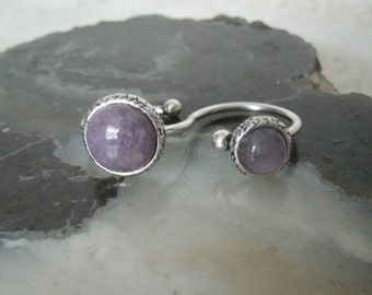 Amethyst Double Ring, wiccan jewelry pagan jewelry wicca jewelry amethyst jewelry goddess witch witchcraft metaphysical magic wiccan ring