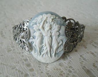 Triple Goddess Cuff Bracelet, wiccan jewelry pagan jewelry goddess jewelry wicca witch witchcraft magick pagan bracelet wiccan bracelet