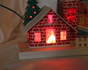 Vintage Putz House - Yuletide Electrified Santa Chimney House- Christmas Decor made in Japan- Lighted Santa House 1960s
