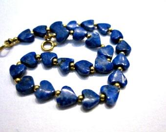 Vintage Blue Lapis Bracelet Gemstone Hearts Gift for Her Heart Jewelry Bracelet Under 25 Gold Bead Blue Bracelet Jewelry Gift