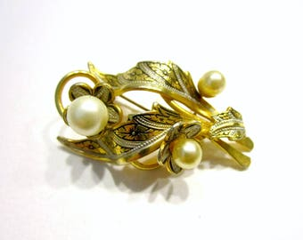 Vintage Damascene Brooch Faux Pearls Gold Leaf Leaves Pin Gift For Mom Jewelry Gift for Her Under 15 Gift Idea