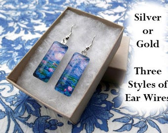 Monet Water Lily earrings, blue with clouds, Monet earrings, Monet water lilies, impressionism, pink flower, pastel, pink clouds