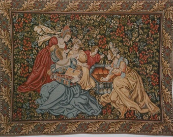 Courtly X Large European Tapestry, Vintage, Excellent Condition, Free Continental US Shipping