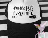 Kids Trucker Hat I'm the Big Brother hat with hipster kids surfer hat baseball hat toddler Boy Kids birthday hat Hipster Arrow Hat