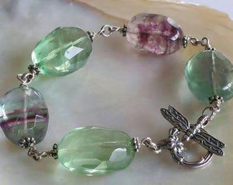 Natural Fluorite Crystal Sterling silver Dragonfly Dream Bracelet