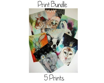 Print bundle 5 glossy oversized postcard art poster prints A5 size - Print bundle 5 prints