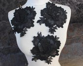 Cute venice  flower applique  black color  3 pieces listing