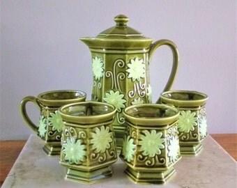 Olive green tea set ~ tea pot ~ tea cups ~ tea mugs ~ Japanese tea set ~ midcentury tea set ~ midcentury modern ~ pottery tea set