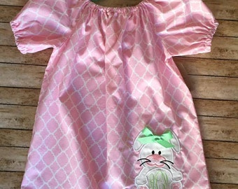 Peasant style Easter Dress. READY TO SHIP. Pink Quatrefoil dress with Bunny Applique personalized with Initials.