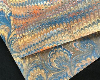 Autumn Folly II -- Hand-Marbled Paper Earth Colors Brown Gold Orange Duo Set Ebru Papers