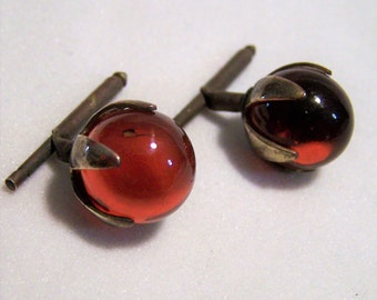 Art Deco Red Glass Ball Mens Cuff Links Gatsby Style Antiqued Gold Tone 1116DGZ