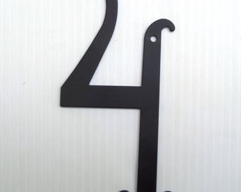 House Number 4 Antique Style Black Powder Coated Metal House Number 6 3/8 inches High New Old Stock