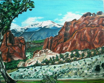 Pikes Peak- art print of oil painting- matted 8 x 10 or 11 x 14 without mat