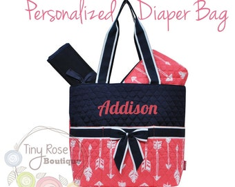 Personalized Diaper Bag -Coral Arrow Monogrammed Baby Tote, Changing Pad, Mommy Bag