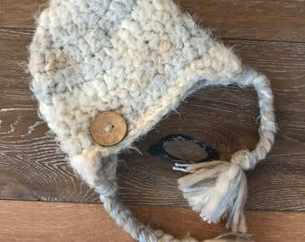 Baby Hat, Super Soft, hat, baby, baby boy, organic, fuzzy, earflaps, cream, taupe, READY TO SHIP, 3 to 6 mths, winter hat, organic baby