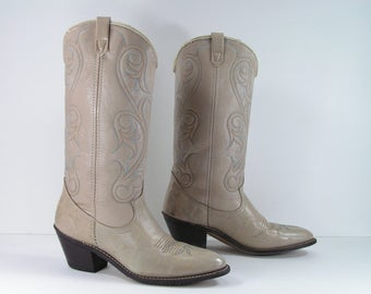 vintage cowboy boots women's 7.5 M B bone turquoise stitching acme western cowgirl