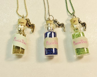 Pixie Dust Tiny Bottle Pixie Charm Necklace, Party Favor Necklace, Pixie Dust Necklace, Mini Bottle, Girl Jewelry, Girl Necklace