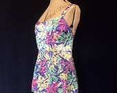 Vintage 1930s to 1940s swimsuit or bathing suit top or vest in satin - bright floral print a/f