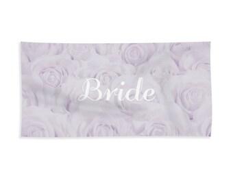 "Lavender ""Bride"" Towel for Bath or Beach, bridal towel, gift for bride, bridal shower gift, honeymoon, destination wedding - 1610PUBRIDE"