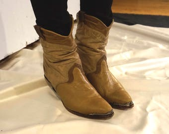 Zodiac Slouchy Cowboy Boots with Silver Embellishments and Map Lining made in USA