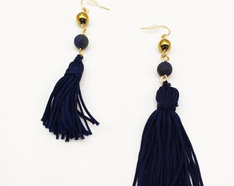 Lapis Lazuli Hematite Navy Blue Tassel Earrings