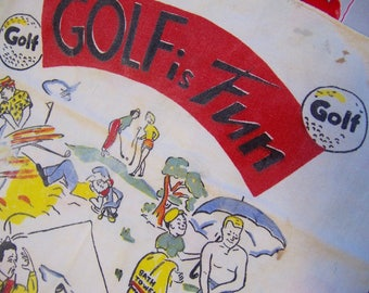 vintage linen golf towel