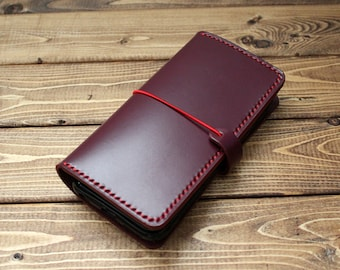 Italian Vegetable Tanned Leather Wallet in WINE RED for iPhone (Free Monogram)