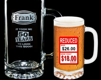 50th Birthday Gifts, Beer Mugs, Personalized Milestone Beer Glass, 16oz