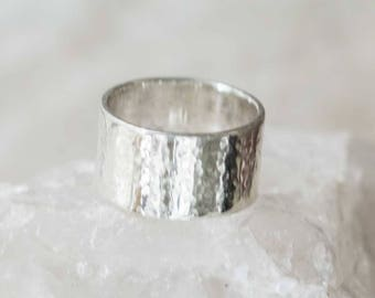 Sterling Silver Wide Ring Band, Size 5 Handcrafted