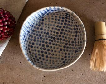 Matcha green tea bowl, Handmade tea bowl, Shawan bowl, Danish unique bowl, Breakfast bowl Farmhouse style bowl, Gift for her, Polka dot bowl