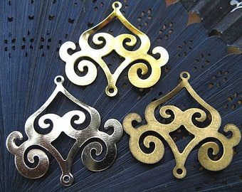 40 Wholesale Filigree floral bronze/ gold/ white gold/ silver plated metal stamping components 33x30mm