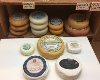 Miniature Dollhouse Assorted Cheese Wheels for Display 1:12 scale one inch