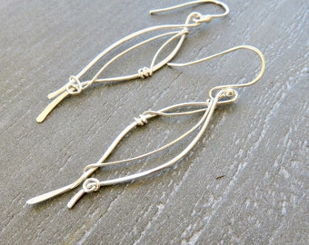 Sterling Silver Dangle Earrings - Valentines Day Gift Idea For Her - Long Silver Earrings - Sterling Silver Earrings - Bridesmaid earrigs